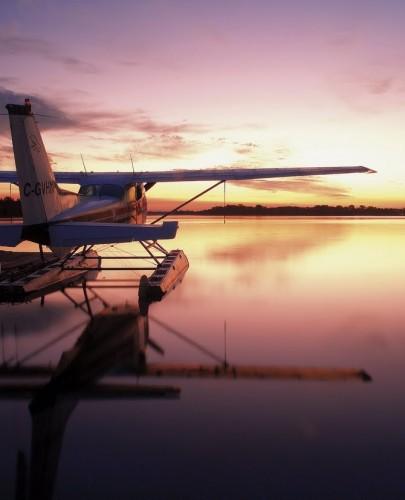 Hydravion au coucher du soleil- Crédit photo Ontario Tourism